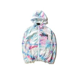Wholesale Types Coat Collars - Tide brand world tour ice cream sunscreen jacket and tie dye color gradient thin coat trendsetter Collar type: cap Color: figure color Size:
