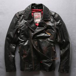 Wholesale Locomotive Fashion Genuine Leather Jacket - vintage Brown Flocking cow genuine leather jacket lapel neck Quilted locomotive motorcycle leather jackets