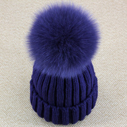 Wholesale Knit White Cap Pom - Wholesale-Real Fox Fur Pom Pom Women Beanie Hat Mink Fur Hat With Pompom Ball Real Raccoon Fur Pompon Knit Bobble Hat Couple Ski Cap