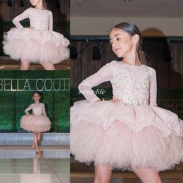Wholesale Kids Dress Designs For Girls - New Design Long Sleeve Flower Girl Dresses for Wedding Ball Gown Applique Illusion Neck 2016 Cheap Kids Birthday Party Dress Gowns for Child