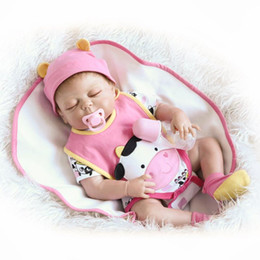 """Wholesale Dolls Clothes Bjd - 22"""" Sleeping Realistic Full Vinyl Body ANATOMICALLY CORRECT Baby Reborn Girl Doll with Cute Baby Clothes"""