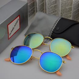 Wholesale Mens Blue Lens - Round Metal Sunglasses Designer Eyewear Gold Flash Glass Lens For Mens Womens Mirror Sunglasses Round unisex sun glasse with cases and box