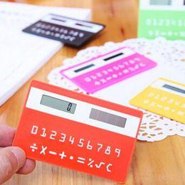 Wholesale Thin Pocket Calculators - 1pc portable calculator mini handheld ultra-thin Card stationery card calculator Solar Power Small Slim Travel Pocket Calculator