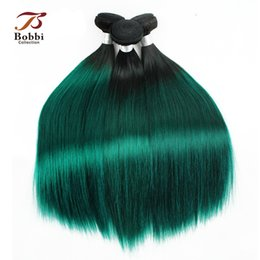 Wholesale 18 Inch Brazilian Remy Hair - 3 Bundles Dark Root Green Hair Colored Ombre Brazilian Virgin Hair Weave Silky Straight 12 14 16 18 inch Remy Human Hair Extensions