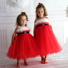 Wholesale Girls Red Gauze Dress - Girls Red Gauze Xmas braces skirt kids pile ruche princess slip dress Kids fluff decor suspender dress performance party dress