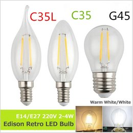 Wholesale Glass Bulb Shell - Wholesale E14 E27 220V 2W 4W Edison Retro LED Bulb Antique Filament Light clear glass Shell Vintage Candle Lamp 360 Degree Energy Saving