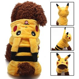 Wholesale Yellow Pet Clothes - Pikachu Cosplay Costume For Pet Dog Autumn Winter Warm Coat Hoody Poke Go Coral Velvet Pet Puppy Jacket Clothes XS-XL