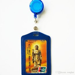 Wholesale Bus Bank - Cheap Bank Credit Card Holders PU Card Bus ID Holders Identity Badge with Retractable Reel wholesale H210484