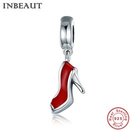 Wholesale Necklace For Teen - INBEAUT 925 Real Sterling Silver Red Heel Pendant for Women Chain Necklace with S925 Charm Fit Bracelets&Banlges Teen Girl Gift