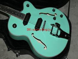 Wholesale Electric Guitars Jazz Custom - Top Quality Custom Shop Green Semi Hollow Body Jazz Electric Guitar With Tremolo P90 pickup Free Shipping
