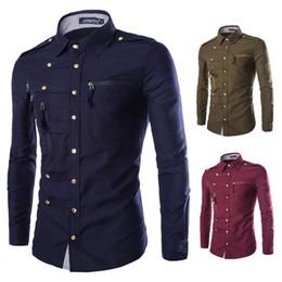 Wholesale Slim Mens Button Downs - 2017 Fashion Mens Slim Fit Button Down Cotton Shirt Zipper pocket Shirt Long Sleeve Shirt Luxury Business Shirts Y232