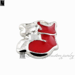 Wholesale Enamel Boot Charm - No Design Custom jewelry charms New Alloy silver enamel Red boots floating locket charms for living memory lockets