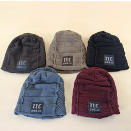 Wholesale Wholesale Party Seasons - Men Winter Season Knitted Hat NC Plus Thicken Warm Inside Beanie Skull Caps 5 Colors Wholesale Price