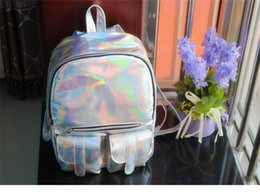 Wholesale Harajuku School Bags - Women Hologram Colorful Laser Bag 2016 Metal Silver Holographic Laser Harajuku Girl Iridescent Zipper Shoulder School Backpack