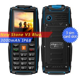 Wholesale Standby Battery Mobiles - cheapphone Vkworld Stone V3 IP68 Waterproof Cellphone mobile Phone GSM FM 3000mAh Battery Long Standby 2.4inch 2MP Camera 3 SIM Cards