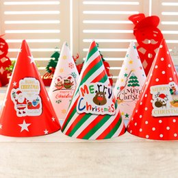 Wholesale Cardboard Christmas - 14*20Cm Christmas Decorations Holiday Supplies Cartoon Christmas Gift For Kids White Cardboard Santa Hats Christmas Party Gifts