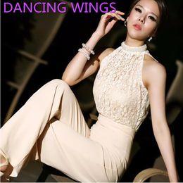 Wholesale Korean Chiffon Pants - Wholesale- DANCING WINGS Korean Backless Lace Stitching Chiffon Strapless Wide Leg Pants Romper Women Summer A-103