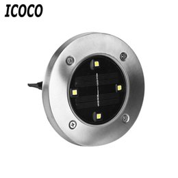 Wholesale Ground Solar Led Lights - Wholesale- ICOCO 1pcs 4 LED Modern Solar Lamp Stainless Steel Ground Light Waterproof Yard Lawn Lamp Street Lighting For 11.11