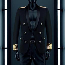 gestreifte blazer für männer Rabatt Wholesale-VogaIn 2016 New Fashion Limited Edition Mann Schwarz Blazer Zweireiher Gold Gestreift Gestickter Löwe Auf Ärmel Kalb