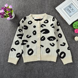 Wholesale Infant Leopard Coat - INS New Autumn Winter Girls Cotton Sweaters Children White Warm Leopard Cardigan Kids Baby Warm Clothing Infants Toddlers Sweaters Coats