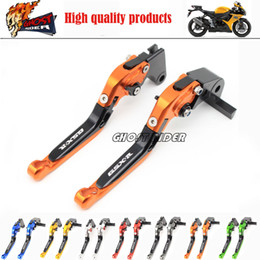 Wholesale fits for SUZUKI GSXR Blue Silver Motorcycle CNC Aluminum Folding Extendable Brake Clutch Levers logo GSX R