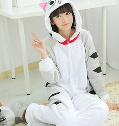 Wholesale Sexy Adult Costumes Animal - Wholesale-Hot 2016 New Unisex Adult Pajamas Anime Cosplay Costume Onesie Sleepwear cheese cat
