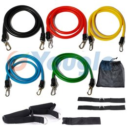 Wholesale Pc Exercise - Wholesale-New 11 Pcs Set Latex Resistance Bands Workout Exercise Pilates Yoga Crossfit Fitness Tubes Pull Rope