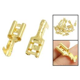 Wholesale Spade Crimp - Wholesale-IMC Hot 20 Pcs Gold Tone Brass Crimp Terminal 6.7mm Female Spade Connectors