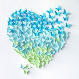 Wholesale Blue Butterfly Favors - 40pcs lot (20pcs large size+ 20pcs small size) 3D Paper Butterfly Decals Wall Stickers for Wedding Favors Christmas Party Decor