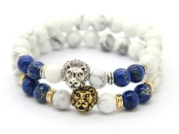 Wholesale Imperial Gold - 2016 Top Quality Bracelets Wholesale 8mm White Howlite&Blue Sea Sediment Imperial Stone Beads Gold&Silver Lion Head Bracelets