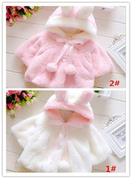 Wholesale Girls Bow Design Coat - 2015 new Autumn Winter children's plush fur coat small ball lace rabbit design coat fashion cool girls clothing A020423