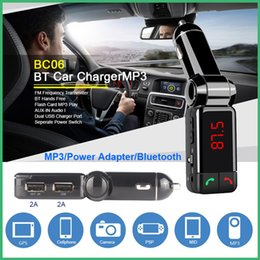 Wholesale Iphone Car Stereo Transmitter - BC06 Bluetooth Car Kit Car Speakerphone BT Hands Free Dual FM Transmitter Port 5V 2A AUX-IN Music Player For Samsung iPhone Mobile