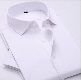 Wholesale Dress Shirt White French - 2016 Summer New Men Short-sleeve Shirts Formal dress Solid color Business Shirts Men Slim French cufflink dress shirts