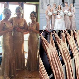 Wholesale Bling Sheath Wedding Dress - 2017 Sparkly V Neck Long Sequins Bridesmaid Dresses Bling Prom Dresses Long Maid Of Honor Dress Formal Evening Gowns Wedding Party Dresses