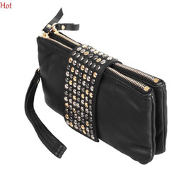Wholesale Handbag Rivet Lady Wallet Clutch - Pop Top Korean Style Clutch Bags Leather Handbag Rivet Lady Clutches Coin Purse Wallet Evening Bag Red Beige Long Bags Bolsas New 8118