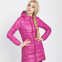 Wholesale Thin Down Jacket Women Green - Wholesale-Women ultra light down jacket 2016 winter new hooded plus size thin solid color white duck down parka jacket long overcoat ZJ249