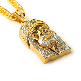 Wholesale Jesus Head Jewelry - Rapper 24K Gold Plated Jesus Face Head Iced Out crystal Pendant Necklace Hip hop Rock Punk Jesus Pendant Cuban Snake chain Necklace Jewelry