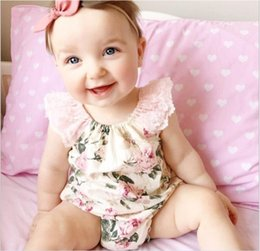 Wholesale Tutu Onesies Christmas - 2016 New Summer Infant Baby Rompers Cute Girl Lace Sleeveless Jumpsuits Toddler Floral Printing Onesies One-Piece Kids Cotton Romper