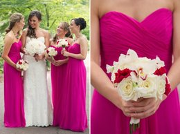 Wholesale Strapless Silver Bridesmaids Long Dresses - Chiffon Fuschia Bridesmaids Dresses Long Floor Length Plus Size Strapless Beach Maid of Honor Dresses Hot Pink Vintage