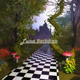 Wholesale Solid Color Vinyl Photography Backdrops - 5X5ft(150x150cm)Alice in Wonderland Mushroom Forest Lawn Vinyl Photography Background Backdrops backgrounds for photo studio F1754