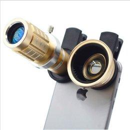 Wholesale Macro Sets - Cell Phone Telescopes Lens 3 in 1 Set 12X Telescopes lens +0.45X Wide-angle lens+ Macro lens