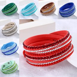 Wholesale Drop Charms - 16 Colors Sparkling Crystal Rhinestone Multilayer Wrap Bracelets Slake Deluxe Leather Wrap Wristband Cuff Bangles for Women Drop Shipping