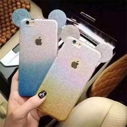 Wholesale Stickers For Ears - Cell Phone Cases Mickey Minnie Mouse Ears bling Glitter Sticker Flash Gradient Color TPU Cover Case for iphone samsung xiaomi oppo mix model