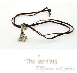 Wholesale Ribbon Necklace Green - 2016 Hot Vintage Gold Silver Plated Eiffel Tower pendant Crown Ribbon Leather Cord necklaces & pendants for Woman jewelry
