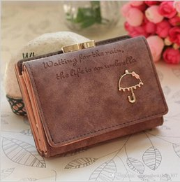 Wholesale Blue Umbrella Short - 2016 New Korean Style Letter Pattern Nubuck Leather Women Wallets Lovely Umbrella Short Wallet Card Holder Coin Purse