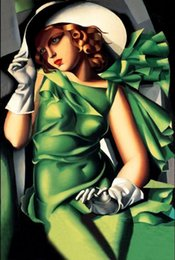 Wholesale Digital Paintings - Framed Genuine Handpainted Tamara de Lempicka Portrait Art oil Painting On Canvas,Young Lady in Green with Gloves Museum Quality Multi Sizes