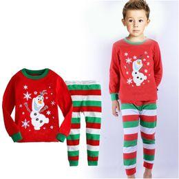 Wholesale Christmas Pants For Girls - Girls Boys Winter Warm Pajamas Kids Children Long Sleeve T shirt Pant Sleepwear Santa Christmas deer printing kids Clothing for christmas
