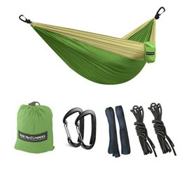 Wholesale Mountaineering Outdoor Package - Hiking Camping Nylon Hammock , Portable Small and Exquisite Package Hammock Outdoor, Ropes   Tree straps   Carabiners , Green (118 *79 inch)