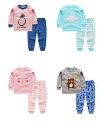 Wholesale Outfits For Baby Boys - children girl clothing sets autumn winter kids suits baby cotton long sleeved cartoon outfits for boys