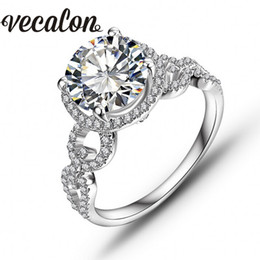 Wholesale Round Cut Diamond Engagement Rings - Vecalon Real Round cut 3ct Simulated diamond Cz Engagement Wedding Band ring for Women 10KT White Gold Filled Female Party ring